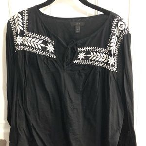 J.Crew Black Top with White Embroidery